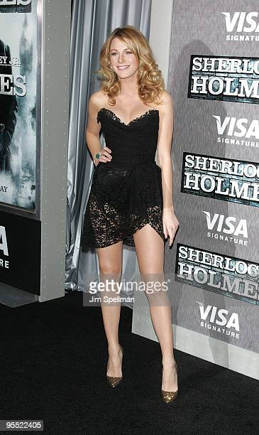 "Actress Blake Lively attends the New York premiere of ""Sherlock Holmes"" at the Alice Tully Hall, Lincoln Center on December 17, 2009 in New York City."