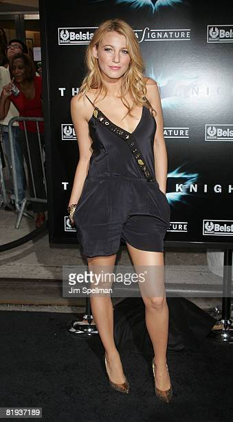 """Actress Blake Lively attends the premiere of """"The Dark Knight"""" at AMC Loews Lincoln Center on July 14, 2008 in New York City."""