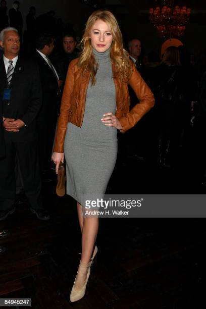 Actress Blake Lively attends the Ralph Lauren Fall 2009 fashion show during MercedesBenz Fashion Week at Skylight Studio on February 20 2009 in New...