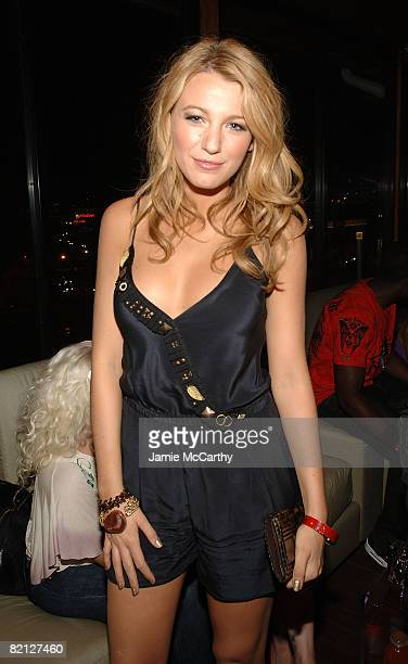 Actress Blake Lively attends the Vitaminwater Celebrates in Style with The Best of Baseball and Music at Hudson Terrace on July 14 2008 in New York...