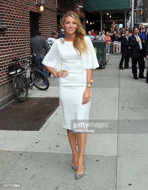 Actress Blake Lively departs Late Show with David Letterman at Ed Sullivan Theater on June 26 2012 in New York City