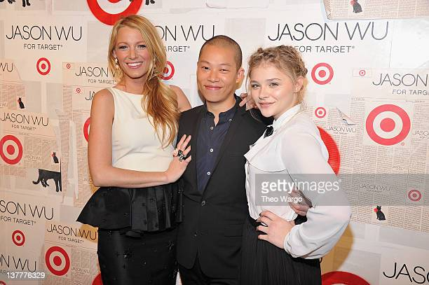 Actress Blake Lively designer Jason Wu and Chloe Moretz attend Jason Wu For Target Private Launch Event at Skylight SOHO on January 26 2012 in New...