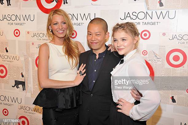 Actress Blake Lively, designer Jason Wu and Chloe Moretz attend Jason Wu For Target Private Launch Event at Skylight SOHO on January 26, 2012 in New...