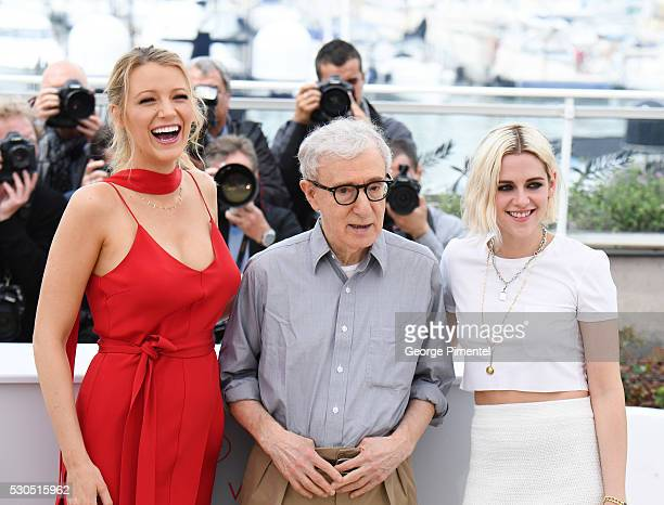 Actress Blake Lively director Woody Allen and Kristen Stewart attends the 'Cafe Society' photocall during the 69th annual Cannes Film Festival at...