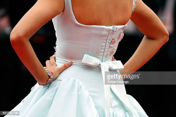Actress Blake Lively fashion detail attends the 'Slack Bay ' premiere during the 69th annual Cannes Film Festival at the Palais des Festivals on May...