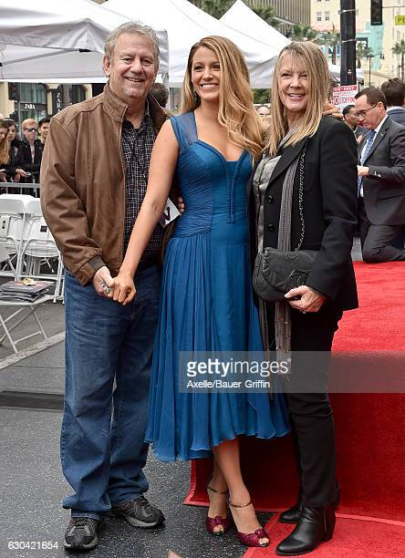 Actress Blake Lively father Ernie Lively and mother Elaine Lively attend the ceremony honoring Ryan Reynolds with a Star on the Hollywood Walk of...
