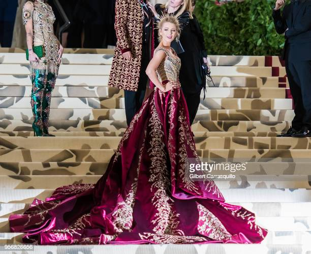 Actress Blake Lively is seen arriving to the Heavenly Bodies: Fashion & The Catholic Imagination Costume Institute Gala at The Metropolitan Museum on...