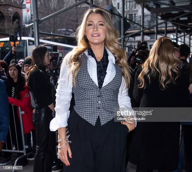 Actress Blake Lively is seen arriving to the Michael Kors FW20 Runway Show on February 12 2020 in New York City