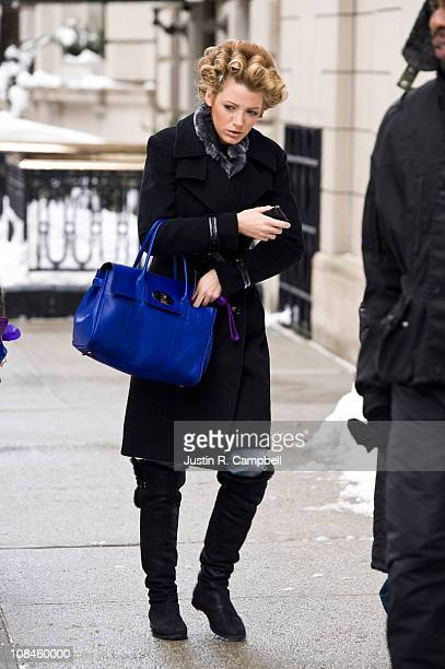 Actress Blake Lively is seen on the set of her show 'Gossip Girl' on January 27 2011 in New York City