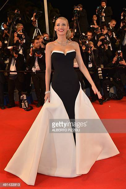 """Actress Blake Lively poses as she arrives for the screening of the film """"Captives"""" at the 67th edition of the Cannes Film Festival in Cannes,..."""