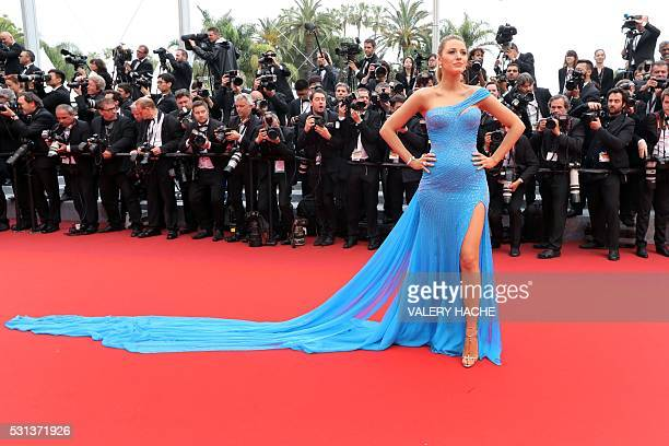 US actress Blake Lively poses on May 14 2016 as she arrives for the screening of the film 'The BFG' at the 69th Cannes Film Festival in Cannes...