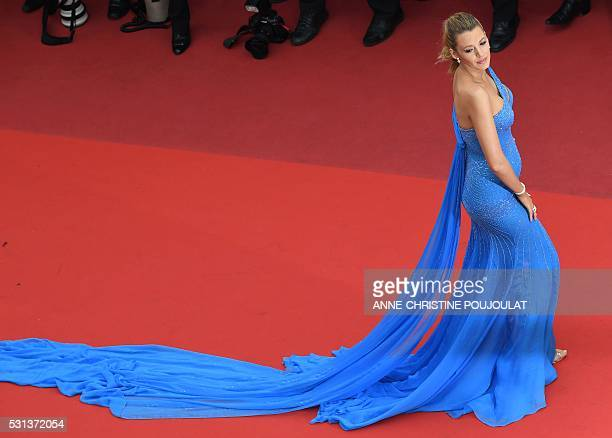 TOPSHOT US actress Blake Lively poses on May 14 2016 as she arrives for the screening of the film The BFG at the 69th Cannes Film Festival in Cannes...