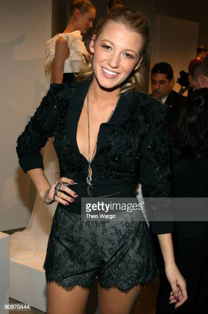 Actress Blake Lively wearing Georgina Chapman for Gerrard Collection attends the Marchesa Spring 2010 Presentation at Chelsea Art Museum on September...