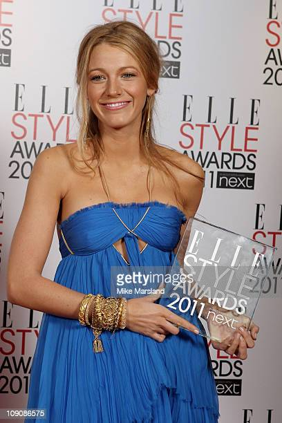 Actress Blake Lively winner of Best TV Star poses in the press room at the ELLE Style Awards 2011 at Grand Connaught Rooms on February 14 2011 in...