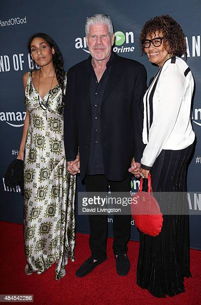 Actress Blake Perlman actor Ron Perlman and jewelry designer Opal Stone attend the premiere of Amazon's Series Hand of God at Ace Theater Downtown LA...
