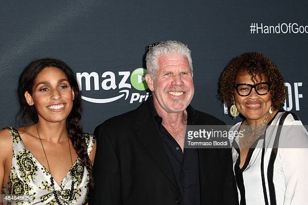 Actress Blake Perlman actor Ron Perlman and jewelry designer Opal Stone attend the premiere of Amazon's series Hand Of God held at the Ace Theater...