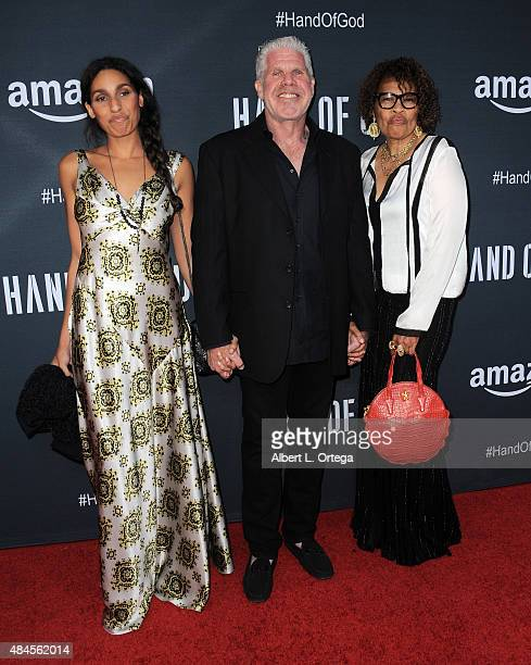 Actress Blake Perlman actor Ron Perlman and Opal Stone arrive for the Premiere Of Amazon's Series Hand Of God held at Ace Theater Downtown LA on...