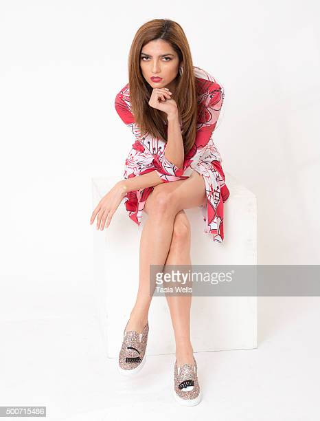 Actress Blanca Blanco poses for portrait in Chiara Ferragni shoes at Annet Mahendru visits The Starving Artists Project on December 9 2015 in Los...