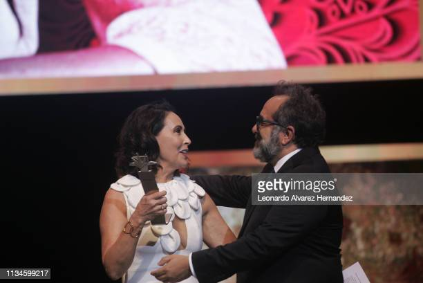 Actress Blanca Guerra receives the Mayahuel De Plata as recognition for her career and contribution to the film industry during the opening ceremony...