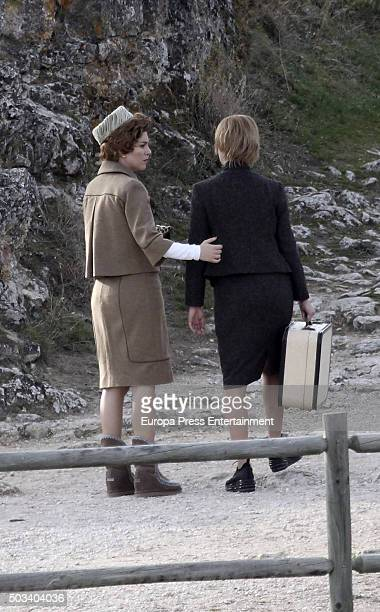 Actress Blanca Suarez and Charlotte Vega are seen during the set filming of 'Lo que escondian sus ojos' tv serie on December 9 2015 in Sepulveda Spain