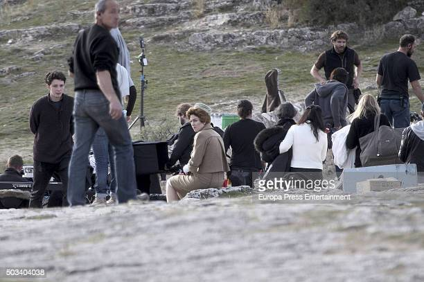 Actress Blanca Suarez is seen during the set filming of 'Lo que escondian sus ojos' tv series on December 9 2015 in Sepulveda Spain