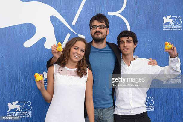 Actress Blu Yoshimi, director Roan Johnson and actor Luigi Fedele attend a photocall for 'Piuma' during the 73rd Venice Film Festival at Palazzo del...