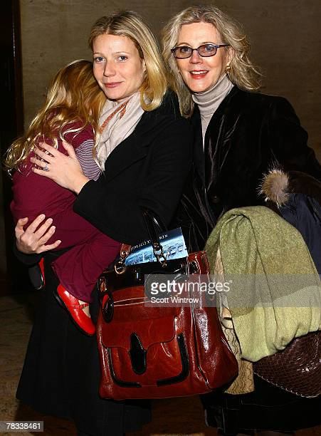 Actress Blythe Danner accompanies her daughter actress Gwyneth Paltrow holding her daughter Apple Martin as they attend the Nutcracker Benefit...