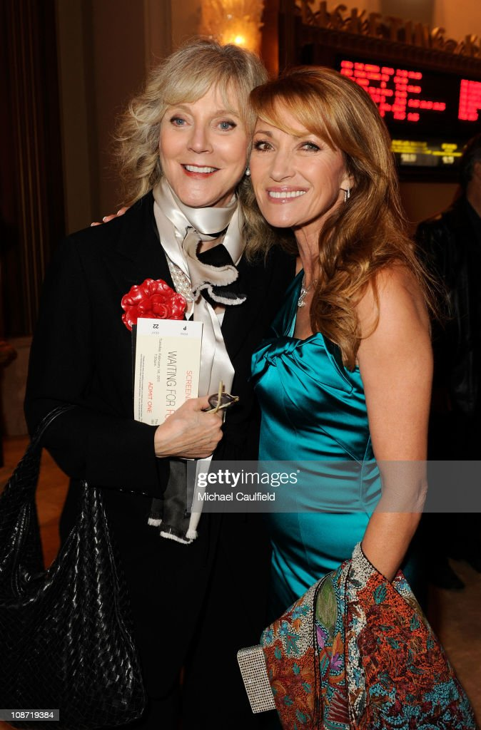 Actress Blythe Danner (L) and Executive Producer Jane Seymour arrive at the Los Angeles Premiere of 'Waiting For Forever' held at the Pacific Theatres at The Grove on February 1, 2011 in Los Angeles, California.