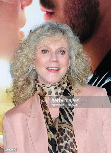 Actress Blythe Danner poses on arrival for the world premiere of the film The Lucky One at Grauman's Chinese Theater in Hollywood on April 16 2012 in...