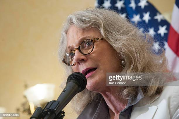 Actress Blythe Danner speaks during a news conference to discuss opposition to HR 1599 on August 5 2015 in Washington DC HR1599 known as the Deny...