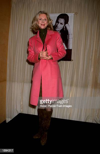 Actress Blythe Danner wearing a dress by designer Ellen Tracy poses for the photographer during the Be Everyone You Are benefit event sponsored by...