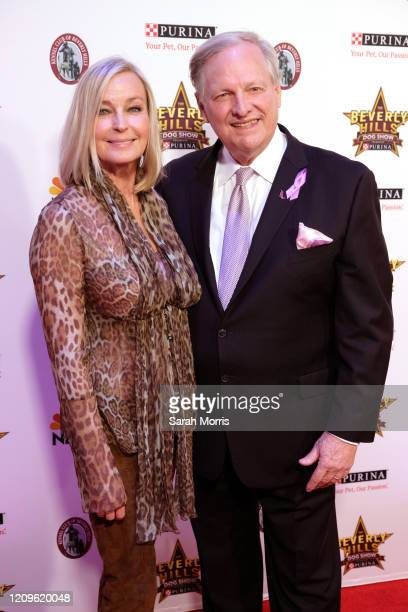Actress Bo Derek and host David Frei attend the 2020 Beverly Hills Dog Show at the Los Angeles County Fairplex on February 29 2020 in Pomona...