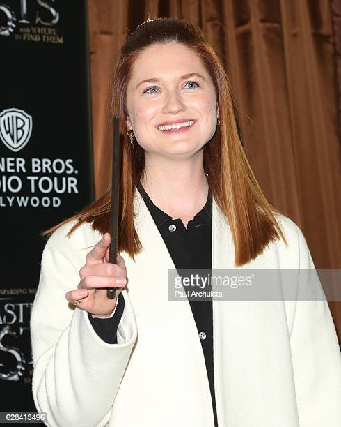 Actress Bonnie Wright attends the press preview for the exhibit showcasing the costumes and props from Warner Bros Pictures' 'Fantastic Beasts and...