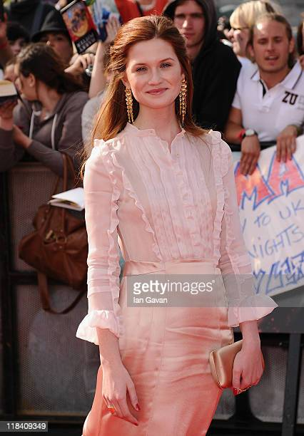 Actress Bonnie Wright attends the World Premiere of Harry Potter and The Deathly Hallows Part 2 at Trafalgar Square on July 7 2011 in London England