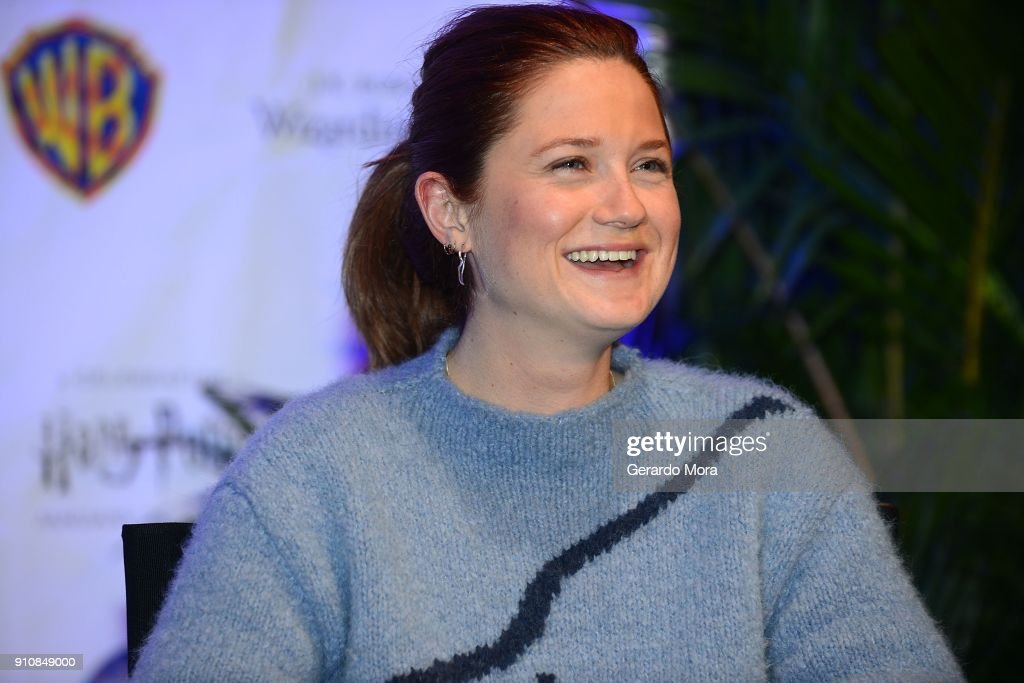 Actress Bonnie Wright smiles during a Q&A session at the annual 'A Celebration of Harry Potter' at Universal Orlando on January 26, 2018 in Orlando, Florida.