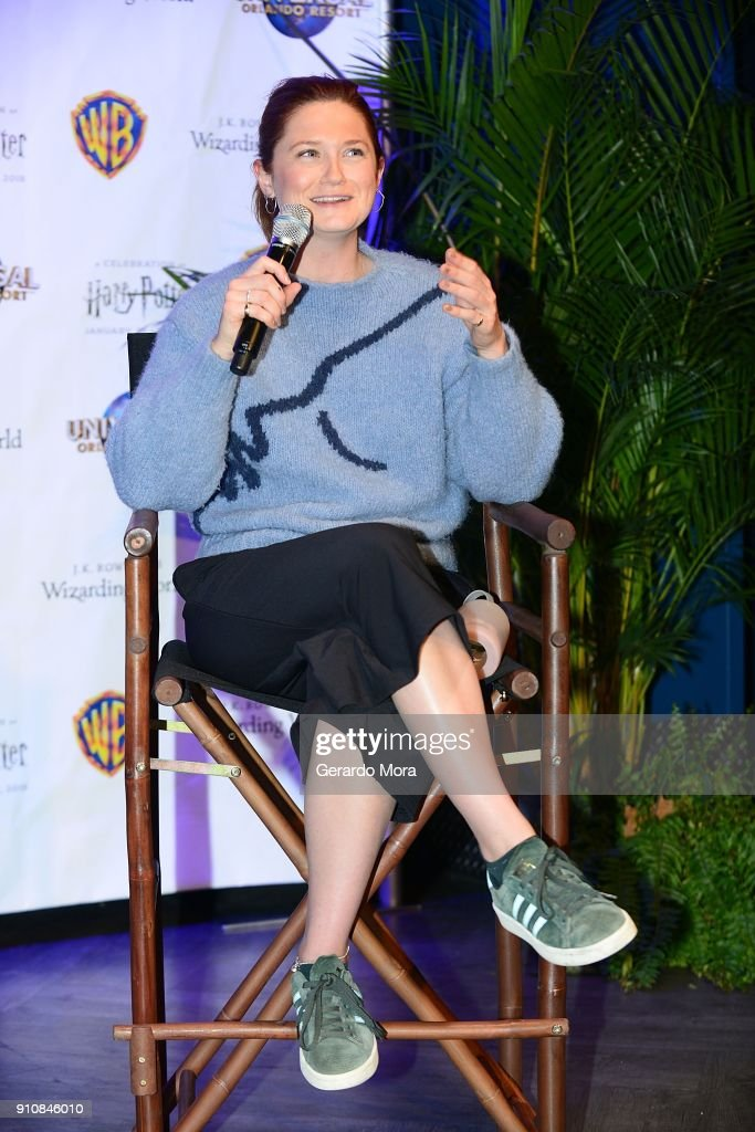 Actress Bonnie Wright speaks during a Q&A session at the annual 'A Celebration of Harry Potter' at Universal Orlando on January 26, 2018 in Orlando, Florida.