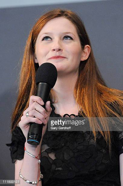 Actress Bonnie Wright visits the Apple Store Soho on April 3 2011 in New York City