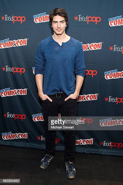 Actress Brandon Routh poses in the press room for the 'DC's Legends of Tomorrow' panel during Comic Con Day 4 at The Jacob K Javits Convention Center...
