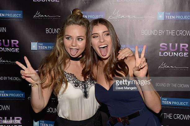 Actress Brec Bassinger and dancer Kalani Hilliker attend Teen Project LA's 2016 Teen Dream at Sur Restaurant on July 28 2016 in Los Angeles California