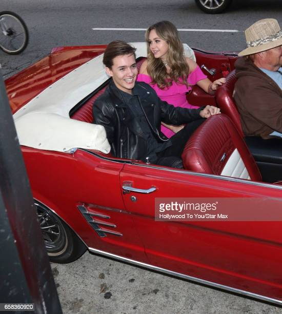 Actress Brec Bassinger and singer Noah Urrea are seen on March 26 2017 in Los Angeles California