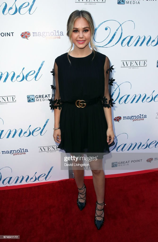 Actress Brec Bassinger attends Magnolia Pictures' 'Damsel' premiere at ArcLight Hollywood on June 13, 2018 in Hollywood, California.
