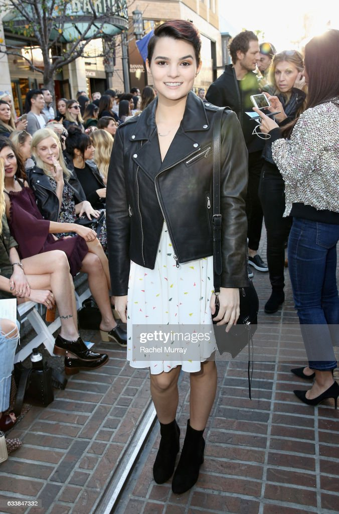 """Actress Brianna Hildebrand attended designer Rebecca Minkoff's Spring 2017 """"See Now, Buy Now"""" Fashion Show at The Grove on February 4, 2017 in Los Angeles, California."""