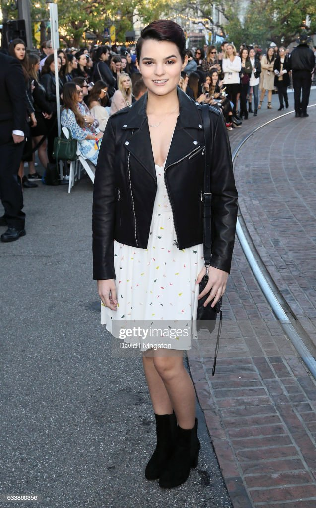 Actress Brianna Hildebrand attends Rebecca Minkkoff's 'See Now, Buy Now' fashion show at The Grove on February 4, 2017 in Los Angeles, California.