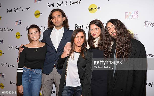 Actress Brianna Hildebrand director Kerem Sanga and actors Pamela Adlon Dylan Gelula and Mateo Arias attends the premiere of PSH Collective's 'First...
