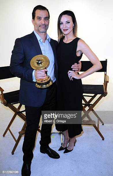 Actress Brianne Davis and actor Johnathon Schaech read the Nominations for the 42nd Annual Saturn Awards held at Geek Nation Studios on February 11...
