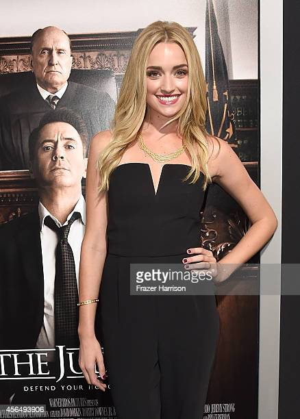 """Actress Brianne Howey arrives for the Warner Bros. Pictures and Village Roadshow Pictures' Premiere of """"the Judge"""" at AMPAS Samuel Goldwyn Theater on..."""