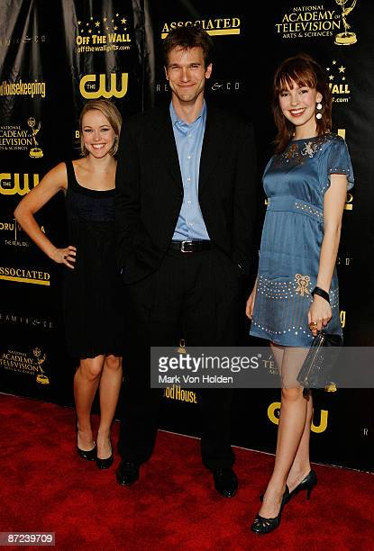 Actress Brianne Moncrief, Adam Mayfield, and actress Brittany Allen attend the 36th annual Daytime Entertainment Emmy Awards Nomination party at...