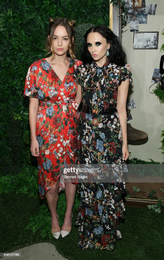 Actress Bridget Lundy Paine and designer Stacey Bendet pose for a picture during Alice + Olivia By Stacey Bendet fashion show, New York Fashion Week: The Shows at Gallery 2, Skylight Clarkson Sq on September 12, 2017 in New York City.