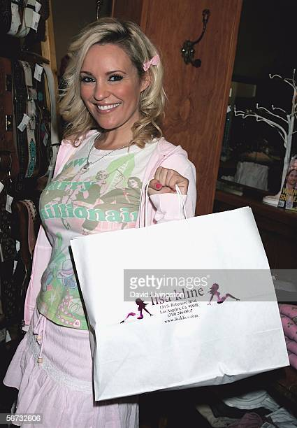 Actress Bridget Marquardt from the E Network show 'The Girls Next Door' attends the grand unveiling of the new Fox Films Icons apparel line at the...