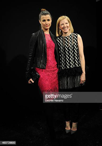 Actress Bridget Moynahan and Designer Lela Rose backstage at the Lela Rose fashion show during MercedesBenz Fashion Week Fall 2015 at The Pavilion at...